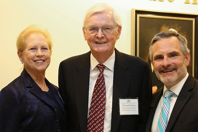 Mary and Elwood Walker with Cameron School of Business Dean, Robert Burrus