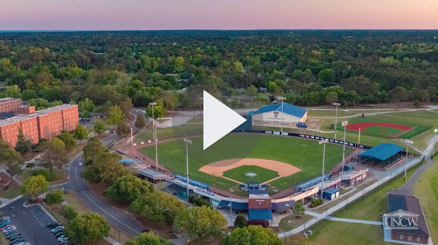 Aerial of the baseball field and training facility on UNCW's campus