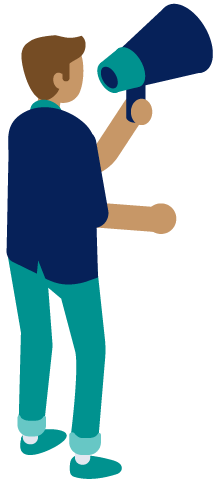 person holding megaphone