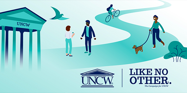 UNCW arches with people walking on pathway