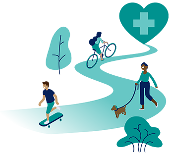 active people with health and wellness icon in heart