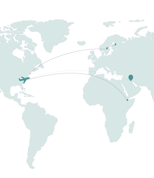 Map showing areas that Sarah has traveled and will be traveling to
